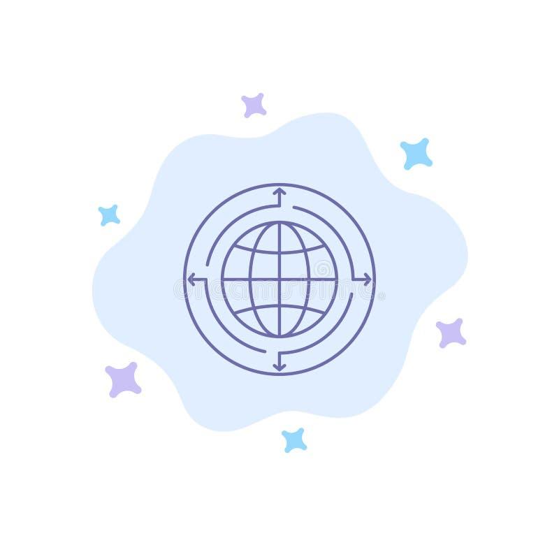 Глобус, дело, сообщение, соединение, глобальное, значок мира голубой на абстрактной предпосылке облака иллюстрация штока