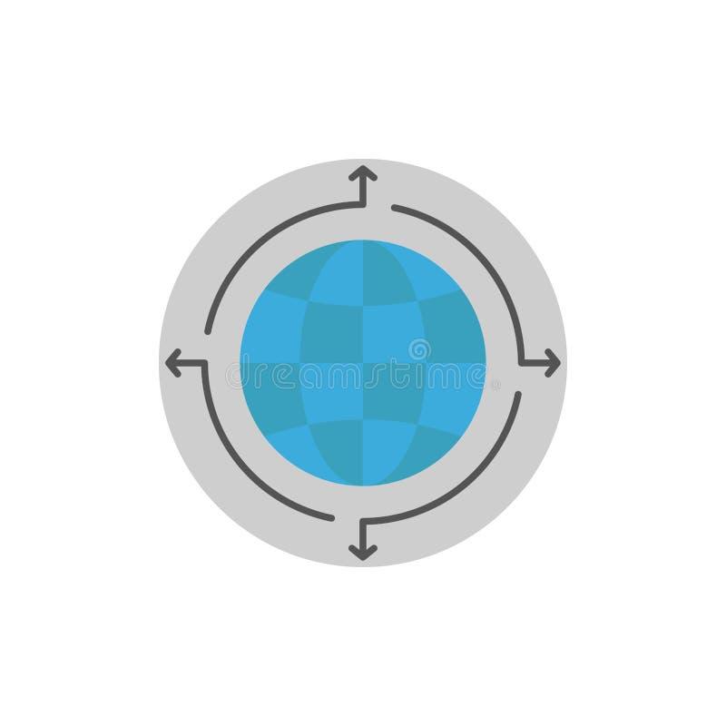 Глобус, дело, сообщение, соединение, глобальное, значок цвета мира плоский Шаблон знамени значка вектора иллюстрация вектора