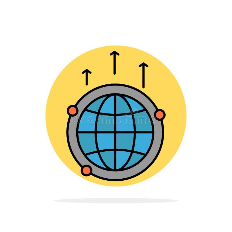 Глобус, дело, сообщение, соединение, глобальное, значок цвета предпосылки круга конспекта мира плоский иллюстрация вектора