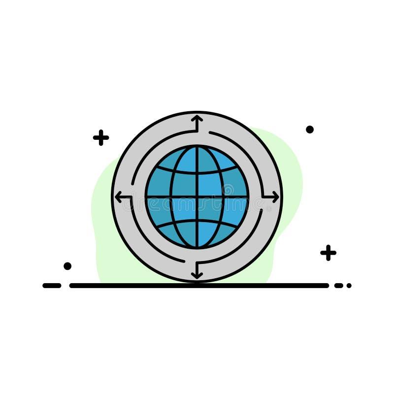 Глобус, дело, сообщение, соединение, глобальное, линия мирового бизнеса плоская заполнил шаблон знамени вектора значка иллюстрация вектора
