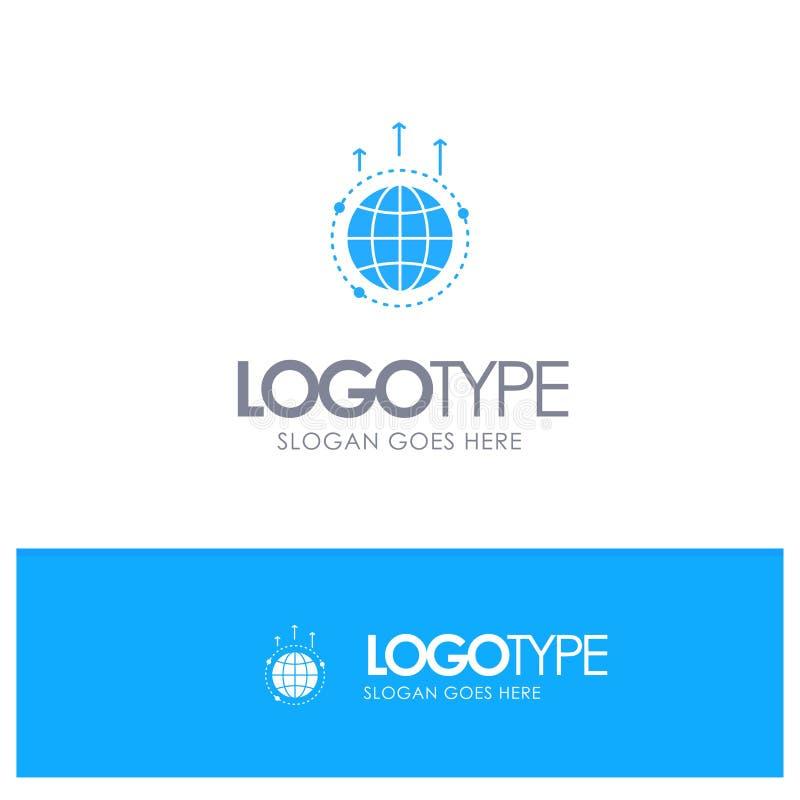 Глобус, дело, сообщение, соединение, глобальное, логотип мира голубой твердый с местом для слогана иллюстрация штока