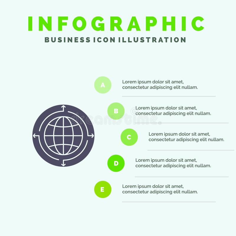 Глобус, дело, сообщение, соединение, глобальное, предпосылка представления шагов Infographics 5 значка мира твердая иллюстрация вектора