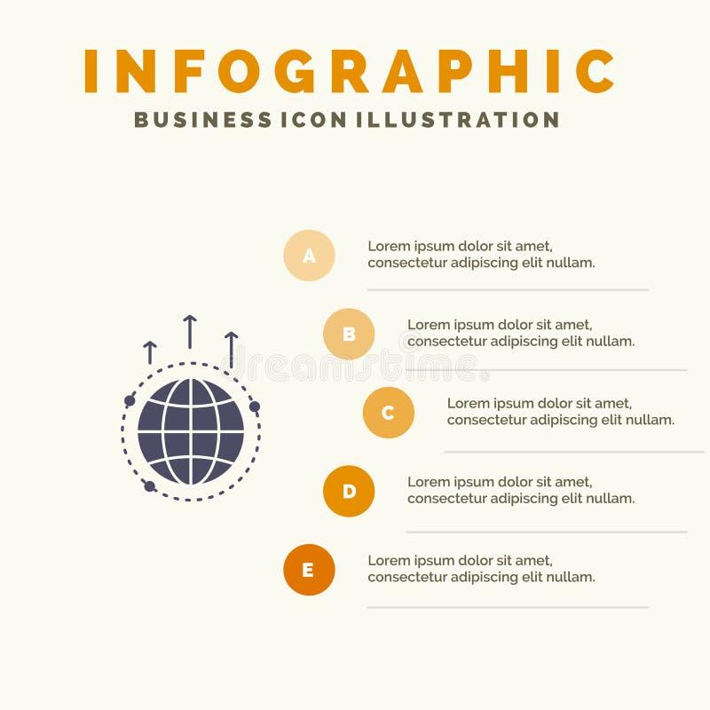 Глобус, дело, сообщение, соединение, глобальное, предпосылка представления шагов Infographics 5 значка мира твердая бесплатная иллюстрация