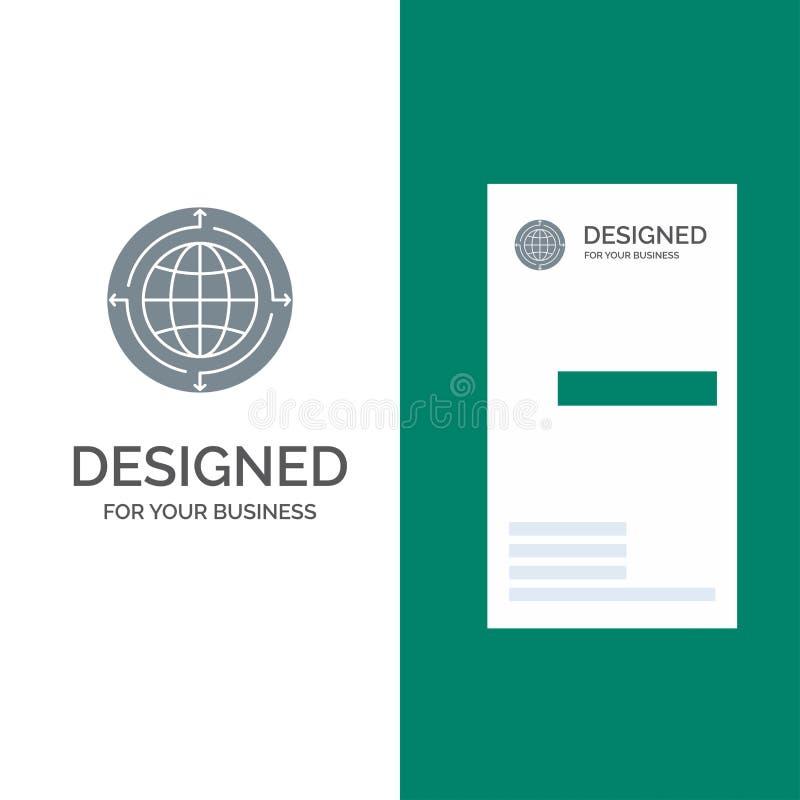 Глобус, дело, сообщение, соединение, дизайн глобального, мира серые логотипа и шаблон визитной карточки иллюстрация штока