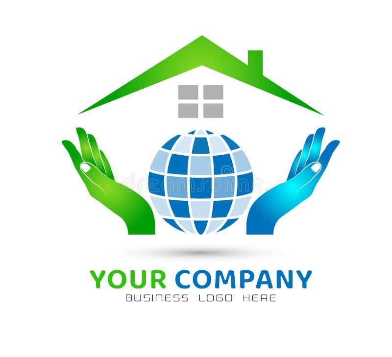 Глобус держа конспект общины дома рук модельный, значок здравоохранения в векторе логотипа недвижимости рук иллюстрация штока