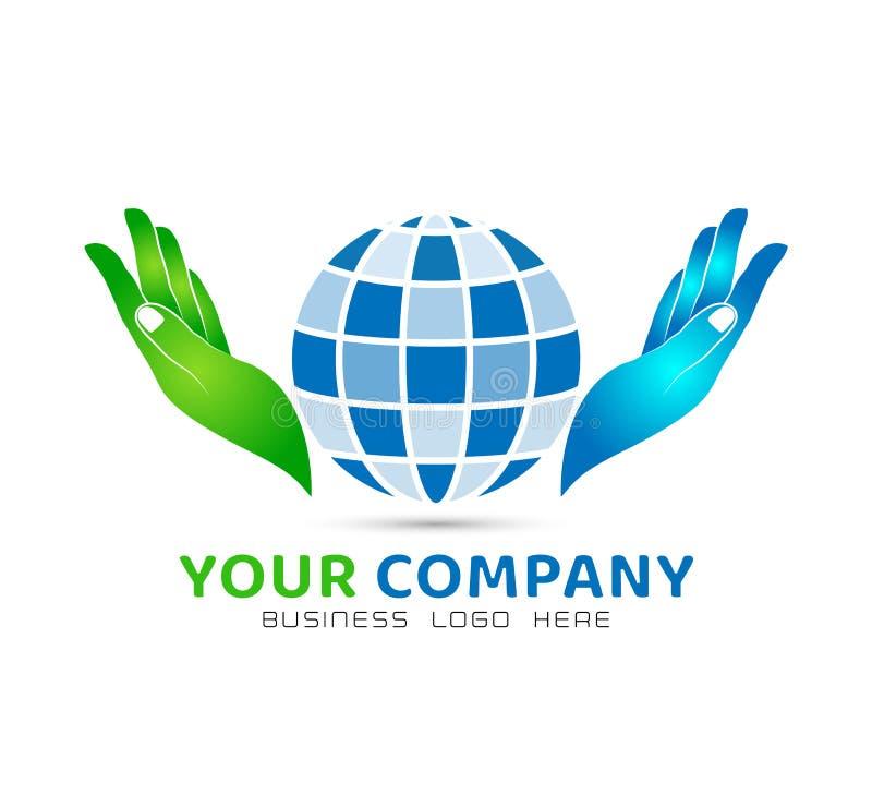 Глобус держа соединение семьи значка рук, любит заботу в логотипе рук иллюстрация вектора