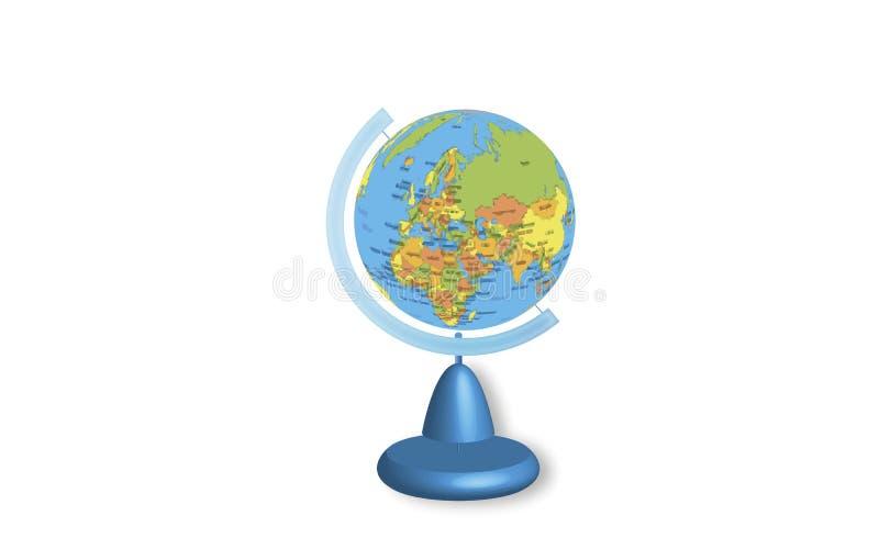 Глобус для того чтобы выучить землеведение иллюстрация вектора