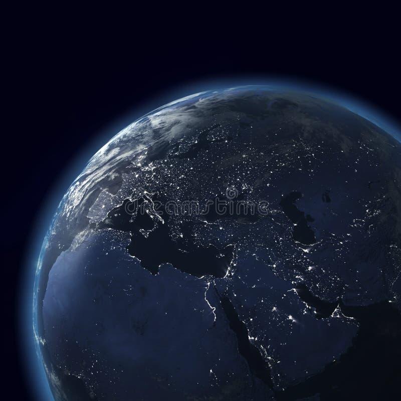глобус европы города Азии освещает ночу иллюстрация штока