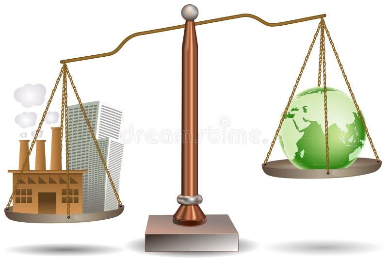 глобус здания луча баланса иллюстрация вектора