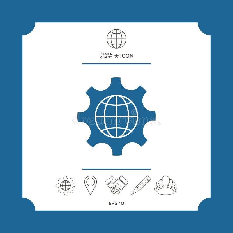 Глобус земли внутри шестерни или cog, устанавливая параметры, глобальный значок вариантов иллюстрация штока