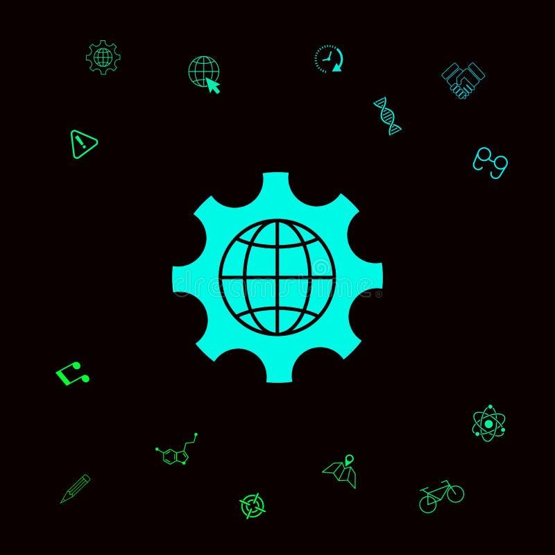 Глобус земли внутри шестерни или cog, устанавливая параметры, глобальный значок вариантов Графические элементы для вашего designt иллюстрация штока