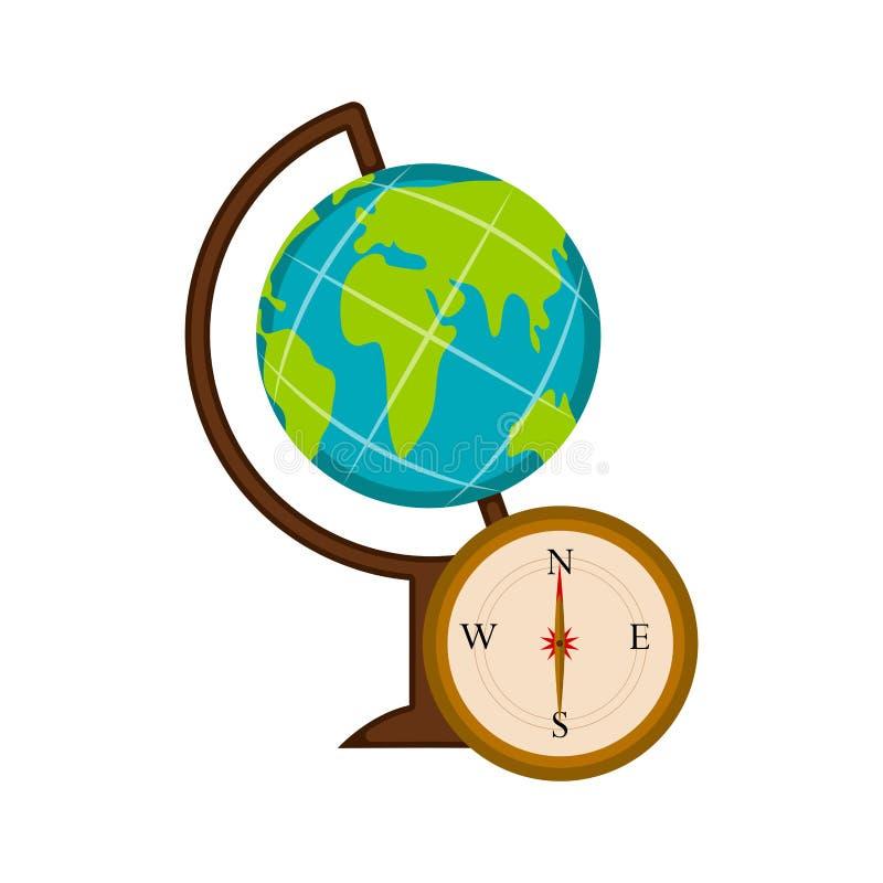 Глобус земли и значок компаса иллюстрация штока