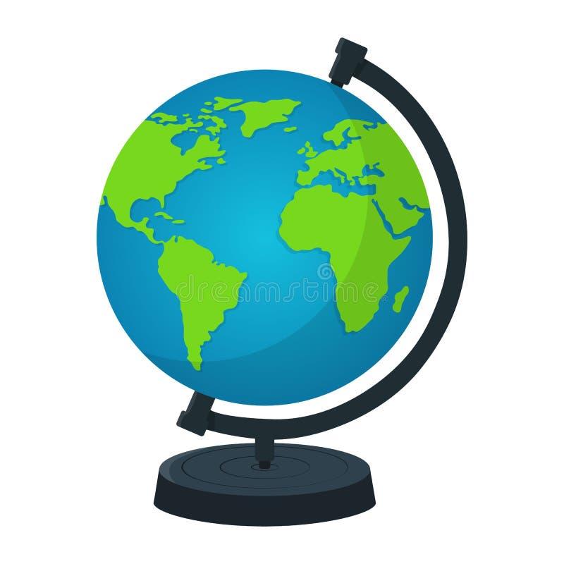 Глобус земли со стойкой изолированной на белой предпосылке E Значок земли Иллюстрация вектора для вашего дизайна иллюстрация штока
