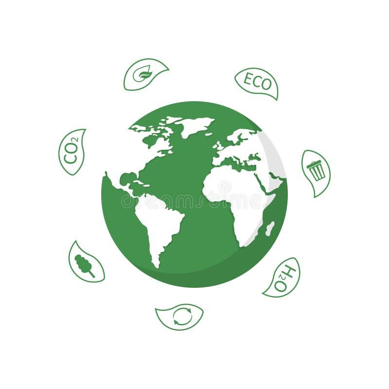 Глобус земли с листьями на день мировой окружающей среды Планета экологичности Дизайн Eco дружелюбный r иллюстрация вектора