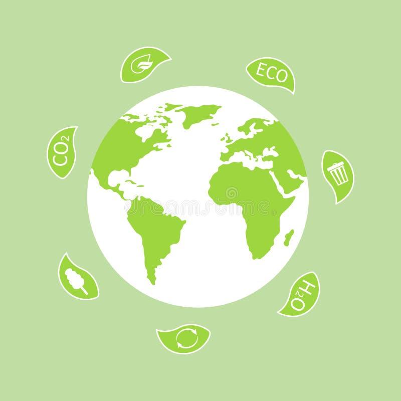 Глобус земли с листьями на день мировой окружающей среды Планета экологичности Дизайн Eco дружелюбный r иллюстрация штока