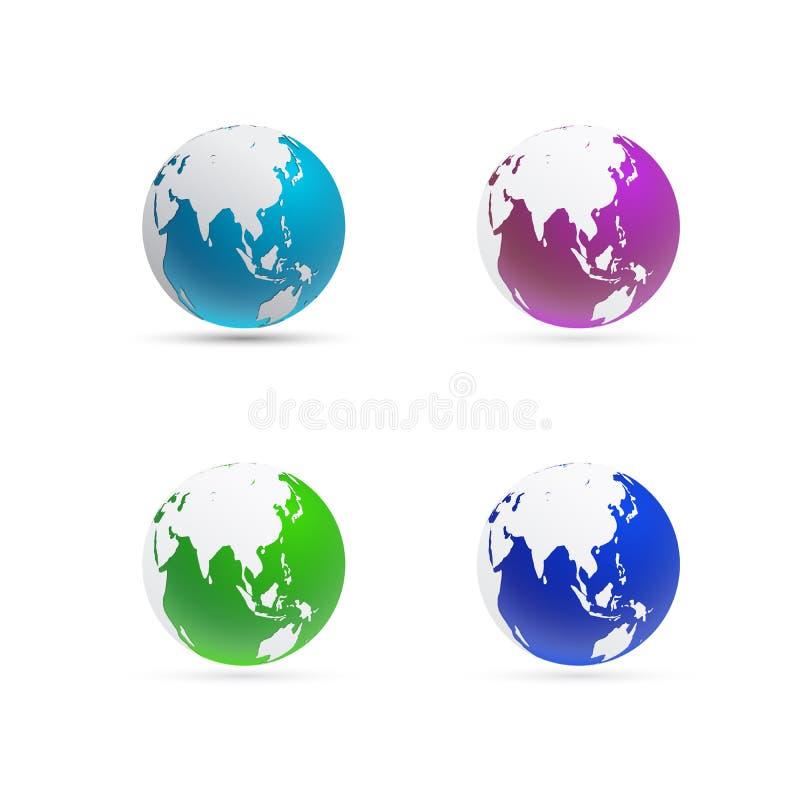 Глобус и сфера карты мира фокусируют на Восточной Азии и Австралии иллюстрация вектора