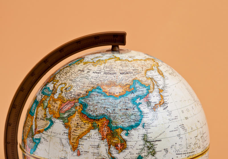глобус крупного плана фарфора Азии стоковое фото rf