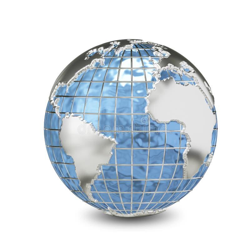 глобус металла иллюстрации 3D иллюстрация вектора