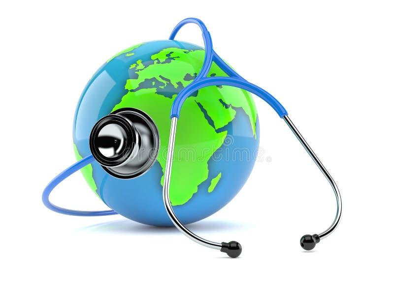 Глобус мира со стетоскопом бесплатная иллюстрация