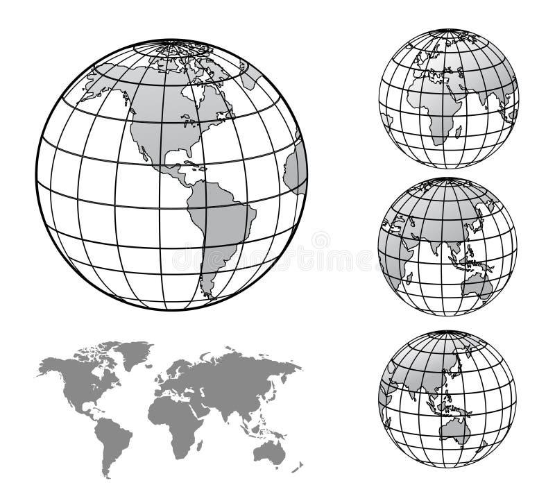 Глобус мира с картой мира иллюстрация штока