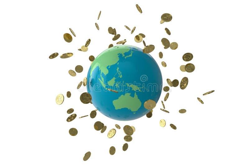 Глобус монетки Bitcoin стоковые изображения