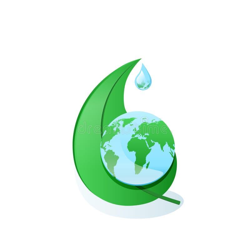Глобус на зеленых лист дерева иллюстрация штока