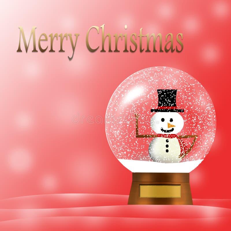 Глобус снега веселого рождества со снеговиком; сцена зимы бесплатная иллюстрация