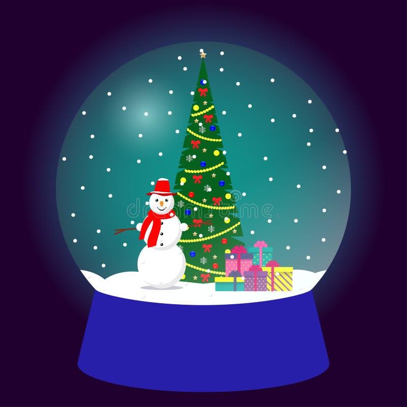 Глобус снега, традиционный подарок рождества Сувенир рождества, стеклянный шарик с рождественской елкой, подарки, милый снеговик  иллюстрация вектора