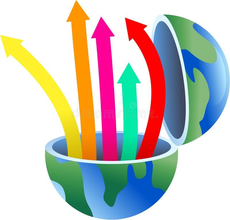 глобус стрелки иллюстрация вектора
