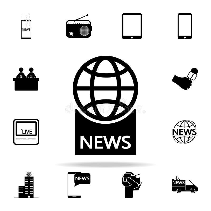 глобус с значком новостей надписи Комплект значков средств массовой информации всеобщий для сети и черни иллюстрация штока