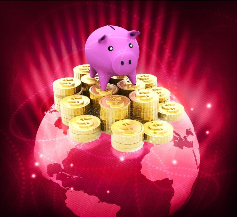 Глобус с монетками доллара и piggy иллюстрация вектора