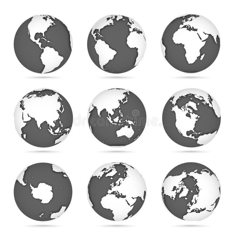 Глобус установил серый и белый, земля значков вектора с континентами плана Белый континент и серая вода иллюстрация штока