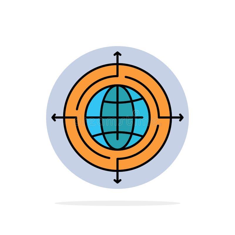 Глобус, фокус, цель, соединенный значок цвета абстрактной предпосылки круга плоский иллюстрация вектора