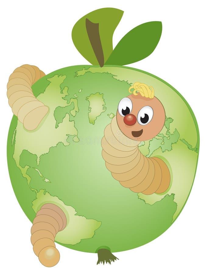 глобус шаржа яблока смешной внутри глиста иллюстрация вектора