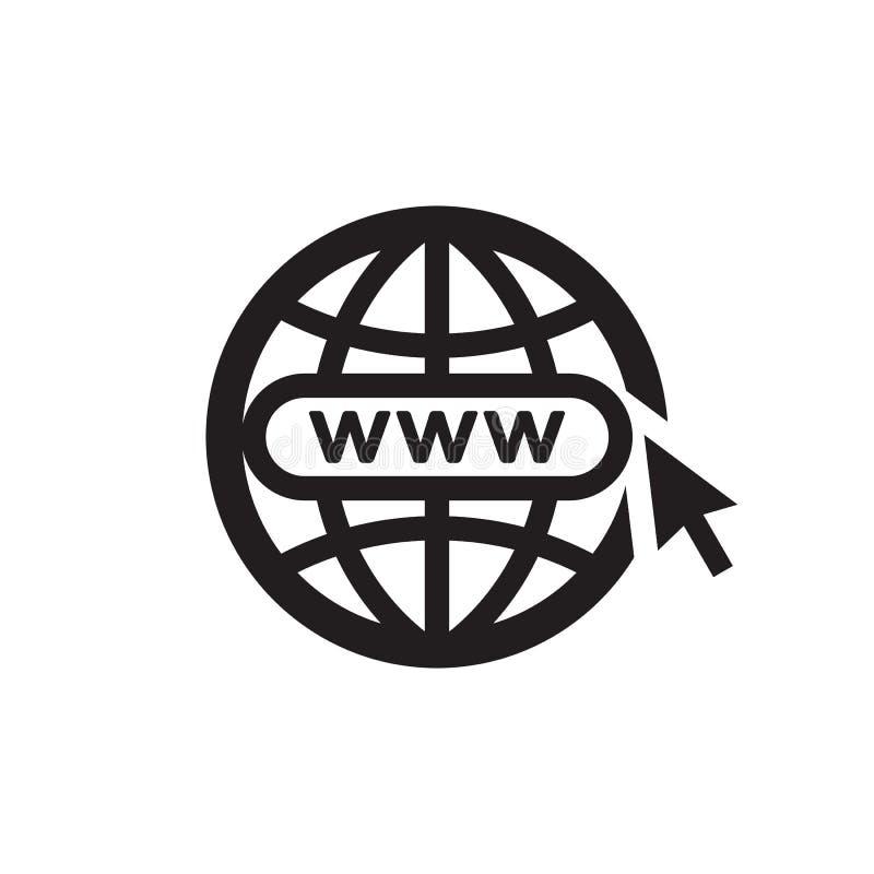 Глобус WWW со стрелкой - черным значком на белой иллюстрации вектора предпосылки для вебсайта, мобильного применения, представлен иллюстрация штока