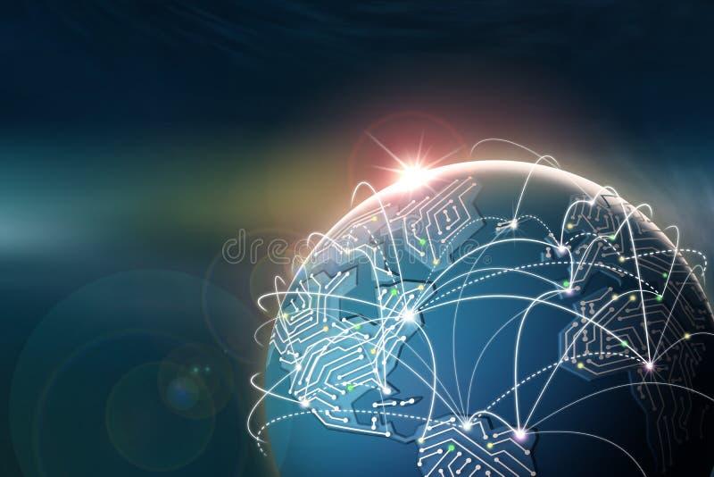 гловальный интернет Сообщение и обмен данными Рассвет над планетой и континентами обломока иллюстрация вектора
