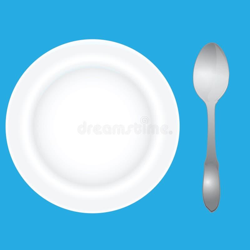 глубокая ложка тарелки иллюстрация штока