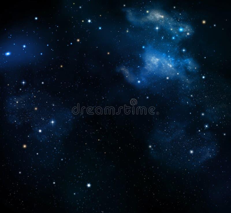 Глубокий космос, абстрактная голубая предпосылка иллюстрация вектора