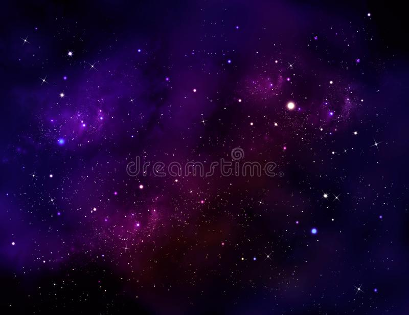 Глубокий космос Ночное небо, абстрактная голубая предпосылка иллюстрация вектора