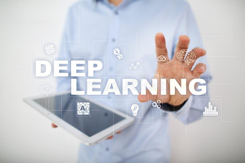 Глубокое машинное обучение, искусственный интеллект в умной фабрике или решение технологии стоковая фотография rf