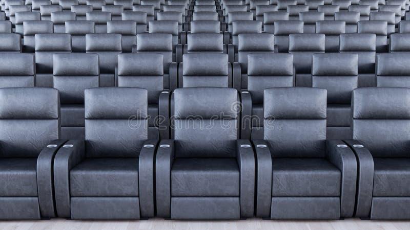 Глумитесь вверх, комната с черными кожаными креслами 3d для того чтобы представить бесплатная иллюстрация
