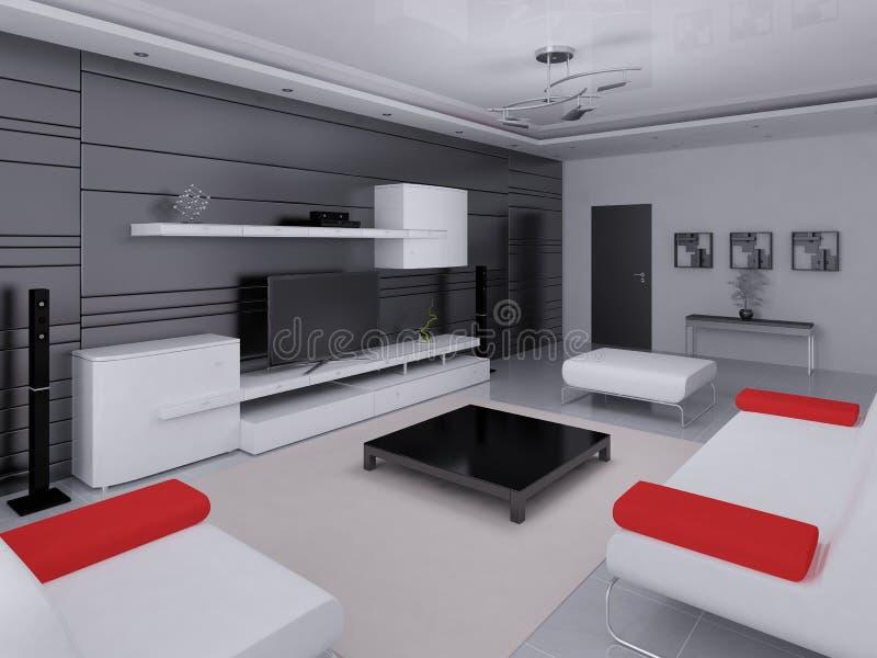 Глумитесь вверх по комнате высок-техника живущей с современным интерьером иллюстрация штока