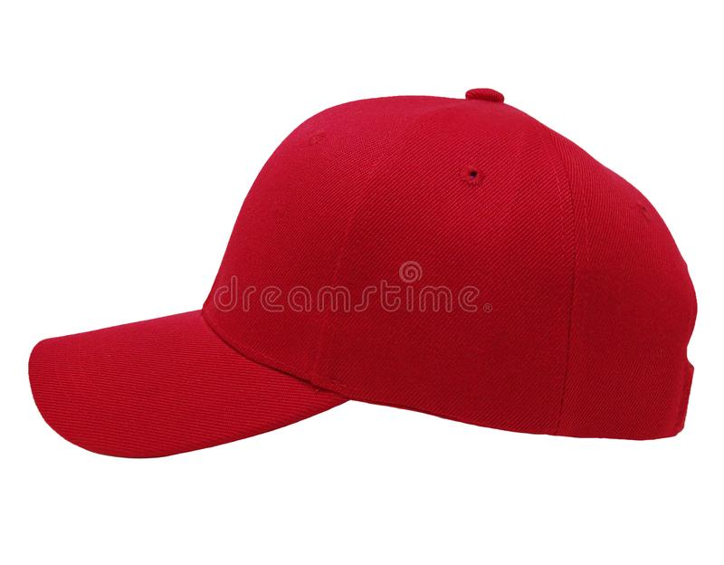 Глумитесь вверх по крупному плану крышки пустого цвета бейсбола красному взгляда со стороны стоковое изображение rf