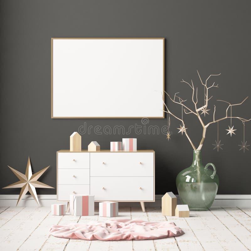 Глумитесь вверх по плакату в интерьере рождества в скандинавском стиле перевод 3d бесплатная иллюстрация