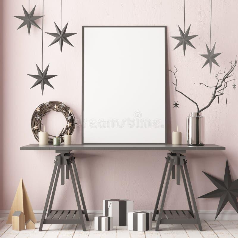 Глумитесь вверх по плакату в интерьере рождества в скандинавском стиле перевод 3d иллюстрация штока