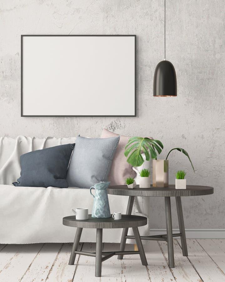 Глумитесь вверх по плакату в интерьере в стиле запаздывания с стулом Скандинавский тип перевод 3d иллюстрация штока