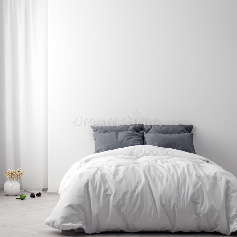 Глумитесь вверх по плакату в предпосылке спальни внутренней, иллюстрации 3D иллюстрация вектора