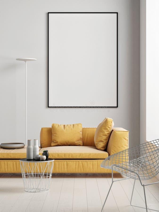 Глумитесь вверх по плакату с желтой софой, скандинавской живущей комнатой иллюстрация вектора