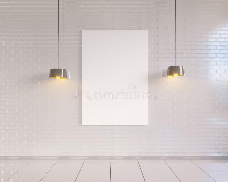 Глумитесь вверх по плакату с предпосылкой винтажной пастельной просторной квартиры минимализма битника внутренней, переводом 3D бесплатная иллюстрация