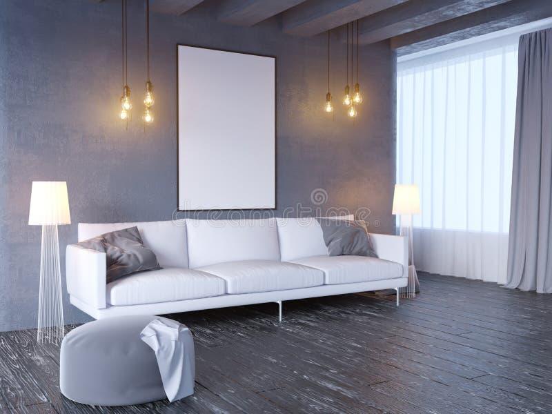 Глумитесь вверх по плакату с предпосылкой винтажной пастельной просторной квартиры минимализма битника внутренней, 3D переводом,  иллюстрация вектора